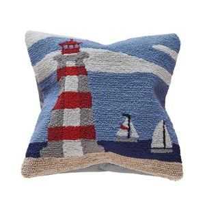 Lighthouse Indoor/Outdoor Throw Pillow Hand Hooked